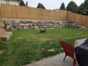 retaining wall in a backyard